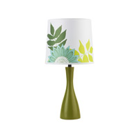 Lights UP Oscar 1 Light Boudoir Table Lamp in Grass with Anna Green Shade 260GR-ANG
