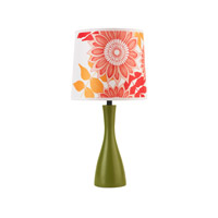 Lights UP Oscar 1 Light Boudoir Table Lamp in Grass with Anna Red Shade 260GR-ANR