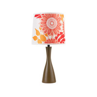 Lights UP Oscar 1 Light Boudoir Table Lamp in Olive with Anna Red Shade 260OL-ANR