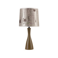 Lights UP Oscar 1 Light Boudoir Table Lamp in Olive with Faux Bois Light Shade 260OL-FBL
