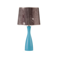 Lights UP Oscar 1 Light Table Lamp in Blue with Faux Bois Dark Shade RS-264BU-FBD