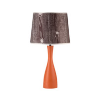 Lights UP Oscar 1 Light Table Lamp in Carrot with Faux Bois Dark Shade 264CA-FBD