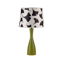 Lights UP Oscar 1 Light Table Lamp in Grass with Black Ginko Leaf Shade RS-264GR-BGL