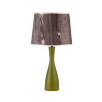 Lights UP Oscar 1 Light Table Lamp in Grass with Faux Bois Dark Shade 264GR-FBD