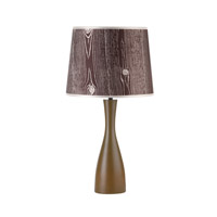 Lights UP Oscar 1 Light Table Lamp in Olive with Faux Bois Dark Shade 264OL-FBD