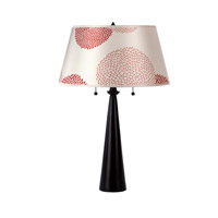 Lights UP Nikki 2 Light Table Lamp in Antique Bronze with Red Mumm Shade RS-284AB-RDM