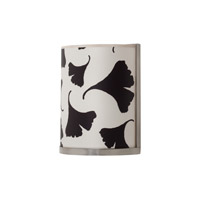 Lights UP Meridian 1 Light Small Sconce in Brushed Nickel with Black Ginko Leaf Shade RS-4035BN-BGL