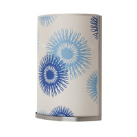 Lights UP Meridian 2 Light Large Sconce in Brushed Nickel with Blue Cornflower Shade RS-4036BN-BCF