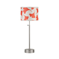 Lights UP CanCan 1 Light Adjustable Table Lamp in Brushed Nickel with Orange Ginko Leaf Shade 434BN-OGL