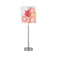 Lights UP CanCan 1 Light Adjustable Table Lamp in Brushed Nickel with Anna Red Shade RS-435BN-ANR