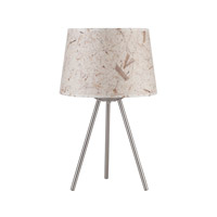 Lights UP Weegee 1 Light Small Table Lamp in Brushed Nickel with Mango Leaf Shade RS-600BN-MLF