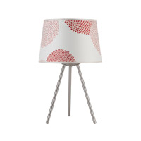 Lights UP Weegee 1 Light Small Table Lamp in Brushed Nickel with Red Mumm Shade RS-600BN-RDM