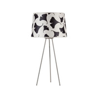 Lights UP Weegee 1 Light Table Lamp in Brushed Nickel with Black Ginko Leaf Shade RS-601BN-BGL