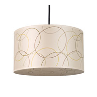 Lights UP Meridian 1 Light Medium Pendant in Brushed Nickel with Circles Shade RS-9203BN-CIR