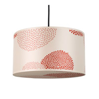Lights UP Meridian 1 Light Medium Pendant in Brushed Nickel with Red Mumm Shade RS-9203BN-RDM