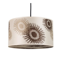 Lights UP Meridian 1 Light Medium Pendant in Brushed Nickel with Tan Cornflower Shade RS-9203BN-TCF