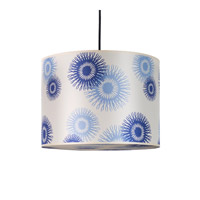 Lights UP Meridian 2 Light Large Pendant in Brushed Nickel with Blue Cornflower Shade RS-9204BN-BCF