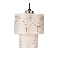 Lights UP Deco 1 Light Mini Pendant in Brushed Nickel with Circles Shade RS-9206BN-CIR