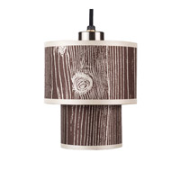 Lights UP Deco 1 Light Mini Pendant in Brushed Nickel with Faux Bois Dark Shade RS-9206BN-FBD