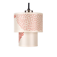 Lights UP Deco 1 Light Mini Pendant in Brushed Nickel with Red Mumm Shade RS-9206BN-RDM
