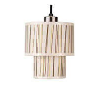 Lights UP Deco 1 Light Mini Pendant in Brushed Nickel with Stripes Shade RS-9206BN-STR