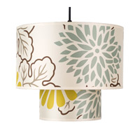 Lights UP Deco 1 Light Pendant in Brushed Nickel with Kimono Shade RS-9207BN-KIM