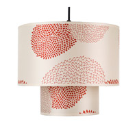Lights UP Deco 1 Light Pendant in Brushed Nickel with Red Mumm Shade RS-9207BN-RDM