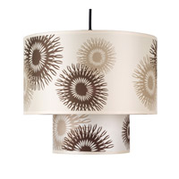 Lights UP Deco 1 Light Pendant in Brushed Nickel with Tan Cornflower Shade RS-9207BN-TCF