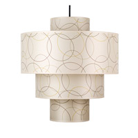 Lights UP Deco 1 Light Deluxe Pendant in Brushed Nickel with Circles Shade RS-9208BN-CIR