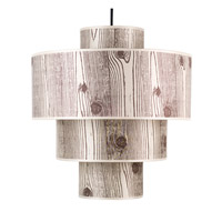 Lights UP Deco 1 Light Deluxe Pendant in Brushed Nickel with Faux Bois Light Shade RS-9208BN-FBL