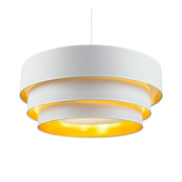 Lights UP Deco Deluxe 4 Light Pendant in Brushed Nickel with Metallic White & Gold Shade 9275BN-MWG