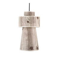 Lights UP Lucy 1 Light Pendant in Brushed Nickel with Faux Bois Light Shade RS-9309BN-FBL