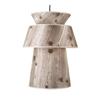 Lights UP Louie 1 Light Pendant in Brushed Nickel with Faux Bois Light Shade 9316BN-FBL