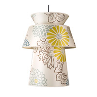 Lights UP Louie 1 Light Pendant in Brushed Nickel with Kimono Shade 9316BN-KIM