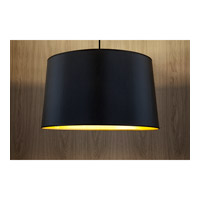 Lights UP Weegee 2 Light Pendant in Brushed Nickel with Metallic Black & Gold Shade 9703BN-MBG