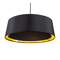 Lights UP Weegee Slim 2 Light Pendant in Brushed Nickel with Metallic Black & Gold Shade 9705BN-MBG