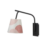 Lights UP Walker 1 Light Swing-Arm Sconce in Powdercoat Black with Red Mumm Shade 4055PB-RDM