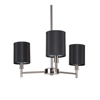 Lights UP Walker 3 Light Clip Chandelier in Brushed Nickel with Black Silk Glow Shade TS-9033BN-BKG