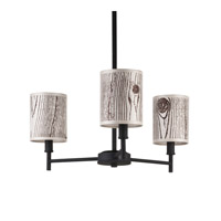 Lights UP Walker 3 Light Clip Chandelier in Powdercoat Black with Faux Bois Light Shade TS-9033PB-FBL