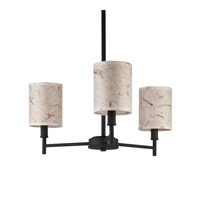 Lights UP Walker 3 Light Clip Chandelier in Powdercoat Black with Mango Leaf Shade TS-9033PB-MLF