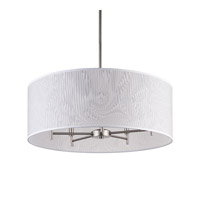 Lights UP Walker 5 Light Drum Chandelier in Brushed Nickel with Clear Optical Shade 9050BN-OPT