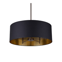 Lights UP Walker 5 Light Chandelier in Oil Rubbed Bronze with Metallic Black & Gold Shade 9050OB-MBG
