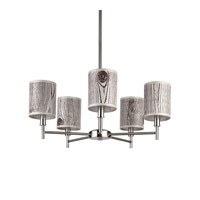 Lights UP Walker 5 Light Clip Chandelier in Brushed Nickel with Faux Bois Light Shade TS-9055BN-FBL