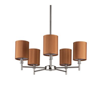 Lights UP Walker 5 Light Clip Chandelier in Brushed Nickel with Gold Silk Glow Shade 9055BN-GOL