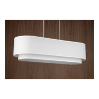 Lights UP Blip Double 34 4 Light Pendant in Brushed Nickel with White Linen Shade 9534BN-WHT