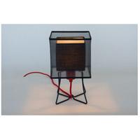 Lights UP W320PB-DBL-2000RD-BOR/BLK Virgil 13 inch 100 watt Black Powder Coat Table Lamp Portable Light Slim Small