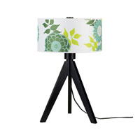 Lights UP Woody 1 Light Table Lamp in Wood Black with Anna Green Shade 333WB-ANG