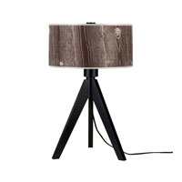 Lights UP Woody 1 Light Table Lamp in Wood Black with Faux Bois Dark Shade 333WB-FBD