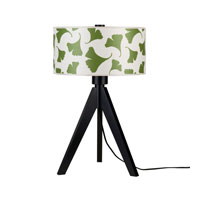Lights UP Woody 1 Light Table Lamp in Wood Black with Green Ginko Leaf Shade 333WB-GGL
