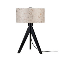 Lights UP Woody 1 Light Table Lamp in Wood Black with Mango Leaf Shade 333WB-MLF